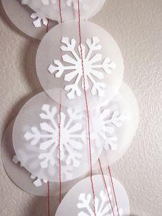 Snowflake Garland  Christmas Garland  White by ArtsDelight on Etsy, $9.00