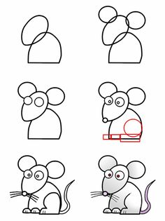 A cute cartoon mouse made from simple basic shape that anyone can learn how to draw.