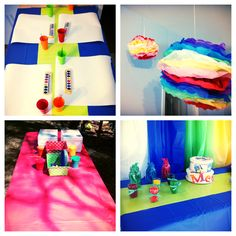 Art stations and color themed designs for a great Art Birthday party!