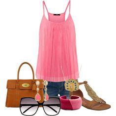 Pink top--cute sandals!