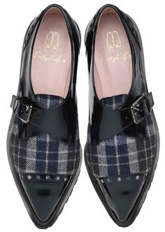 Pretty Loafers. Pretty Loafers & Pretty Ballerinas. LENA. Navy blue patent with #blue & #grey tartan. Blucher with extra ligth commando style rubber sole. #shoes #prettyballerinas  #prettyloafers #pretty