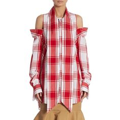 """Plaid printed cold shoulder top with polished hardware Cold shoulders Stand collar Long sleeves Concealed button-front About 29"""" from shoulder to hem Cotton Dr…"""