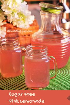 Sugar Free Pink Lemonade! Delicious, refreshing and a nice sweet, change of pace that will help you keep your cool all summer. Kids love this one too