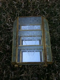 Vintage Brass & Etched Glass Mirrored Display Case / Jewelry Case / Curio Cabinet by staynostalgic on Etsy #curiocabinet #etchedglass