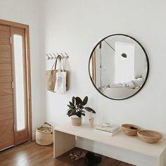 3 rond miroir design mural sol en parquet clair petit console d entre