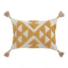 Mustard Yellow Woven Triangle Indoor Outdoor Patio Lumbar Pillow by World Market - Top Trends Outdoor Chair Cushions, Outdoor Throw Pillows, Accent Pillows, Seat Cushions, Patio Pillows, World Market Store, Yellow Pillows, Pillow Texture, Deco Furniture