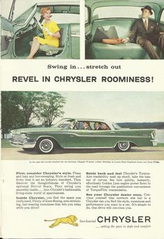 Swing in...stretch out revel in Chrysler roominess! 1959 Chrysler Windsor ad from National Geographic #vintageads #Ads #vintage #PrintAd #tvads #advertising #BrandScience #influence #online #Facebook #submissions #marketing #advertising