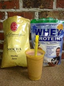 This is the BEST protein shake ever.  It tastes sinful and is my favorite post-workout recovery smoothie.  Toss in some frozen strawberries for a little extra punch.