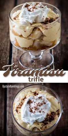 This no bake tiramisu trifle is an easy take on a classic tiramisu recipe. Cake is soaked with coffee & rum and topped with a creamy Mascarpone layer. Tolle Desserts, Desserts For A Crowd, No Cook Desserts, Great Desserts, Köstliche Desserts, Delicious Desserts, Dessert Recipes, Quick Dessert, Cake Recipes