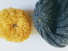 DIY mix and match pompom beanie hat - on Happy & Hygge