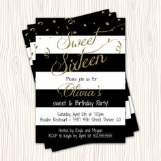 Classic Black Blue Red & White Stripe Gold Glitter Sweet 16 Birthday Party Invitations by ATimeAndPlaceDesign Barbie Birthday, 40th Birthday Parties, Sweet 16 Birthday, 16th Birthday, Sweet 16 Food Ideas, Sweet 16 Themes, Sweet 16 Decorations, Black And White Girl, Red And White Stripes