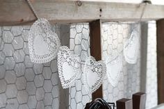 DIY::Doily Heart Bakers Twine Bunting