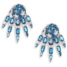 Nikos Koulis Spectrum Diamond & London Blue Topaz Stud & Ear Jacket Set