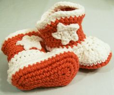 Baby Crochet Western Cowboy Boots in Rust and White Baby gift, Baby Shower Gift, Baby Crochet  Booties, Made in the USA, #163 by HandmadeGiftbybarb on Etsy