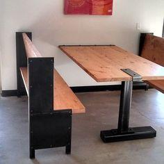 Reclaimed Wood And Steel Custom Cafe Booths & Reception Desks For Boulder Brands