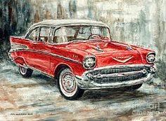 1957 Chevrolet Bel Air Sport Coupe Art Print by Joey Agbayani