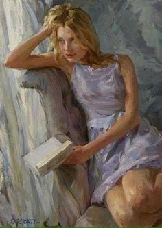 """Love poetry"" - Yuri Krotov, oil on canvas, 2014 {figurative art beautiful blond. - ""Love poetry"" – Yuri Krotov, oil on canvas, 2014 {figurative art beautiful blonde female seat - Reading Art, Woman Reading, Woman Painting, Figure Painting, Russian Painting, Painted Ladies, Art Graphique, Beautiful Paintings, Figurative Art"