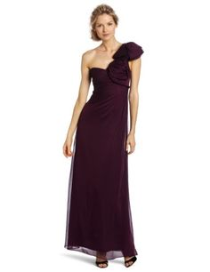 Adrianna Papell Women's One Shoulder Chiffon Gown, Plum, 12 coupon| gamesinfomation.com