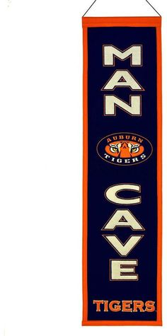 "$45 - Auburn Tigers Man Cave Banner - Your favorite space deserves a little bit of your favorite NCAA team, and this Auburn Tigers banner is just the ticket. Featuring team logo, helmet and ""Man Cave"" applique and embroidery. Hanging cord Product Details 32"" x 8"" Wool blend felt. college sports, sports fan, college football, man cave, gift for dad"