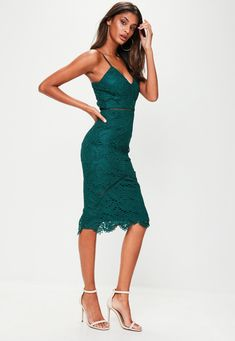 Missguided - Green Lace Ladder Detail Midi Dress