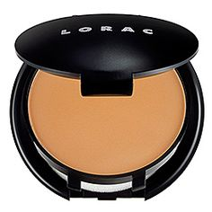 LORAC - Oil-Free Wet/Dry Powder Makeup  This is a great wet/dry powder foundation. Dampen the sponge and apply for heavier coverage. If you want light coverage, or to add another layer of coverage to a liquid layer apply with a kabuki brush. I usually use it alone, applied with a brush. But I also started applying it with a pointy Q-tip as cover-up ON TOP of liquid foundation. Apply with one pointy end, then blend with the other - no one will know you have something to hide!