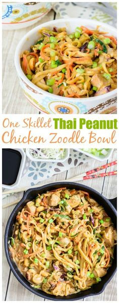 Fresh and healthy One Skillet Thai Peanut Chicken Zoodle Bowl. Made with healthy zucchini noodles, this meal will make your taste buds AND waistline happy. Win-win! You have to try this delicious zoodle recipe!