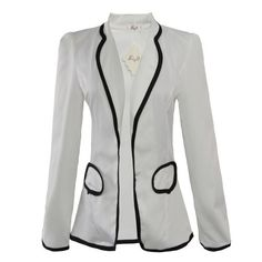 Gamiss Women`s Sweet College Style Long Puff Sleeve Slimming Lapelled Short Suit Coat