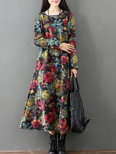 a217a0114ad Vintage Floral Print Thicken Long Sleeve O-neck Women Maxi Dresses is high-quality