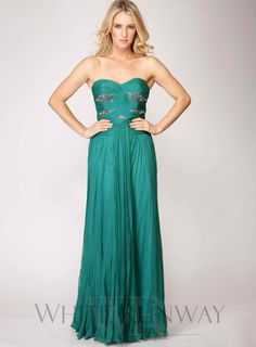 Emerald Green 100% Silk Strapless Dress