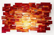 """Sunset by Karo Martirosyan (Art Glass Wall Sculpture) (29"""" x 47"""")"""