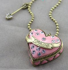 Betsey Johnson  Dollhouse Crystal ~*LOVE*~ Pink Long Heart Locket Necklace