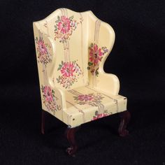 Vintage 1920's Tynietoy Dollhouse Wood Hand Painted Floral Wing Chair | eBay
