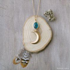 Sautoir Lune Boho Facettes de verre / Lagon – PAMALAKA - Créateur de bijoux boho chic