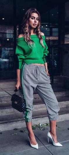 Monse Glen Plaid Jogger Pant (similar here and here), Upside Down Cropped Knit (similar here and here) | Off White White For Walking 115 Pumps (similar here and here) | Valentino Rockstud Spike Medium Quilted Leather Shoulder Bag (similar here and here)