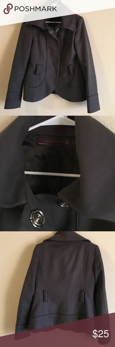 Zara woman grey jacket Zara jacket, great condition but is missing belt and too button need a little reinforcement. Easily replaceable. Super cute and flattering Zara Jackets & Coats