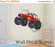 Monster Truck Wall Decal  Vinyl Monster Truck von WallDecalSource