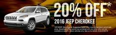 Right now save 20% off a 2016 Jeep Cherokee at Russ Darrow Chrysler Jeep Dodge Ram