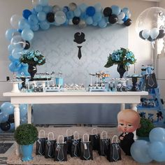 Boss Birthday, Boys 1st Birthday Party Ideas, Little Man Birthday, Baby Boy 1st Birthday Party, Gold Birthday Party, Gender Reveal Decorations, Baby Shower Decorations For Boys, Girl Baptism Centerpieces, Boss Baby