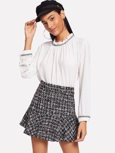 6b030ea4db Flared Plaid Skirt -SheIn(Sheinside) Spring Skirts, Plaid Skirts, Mini  Skirts