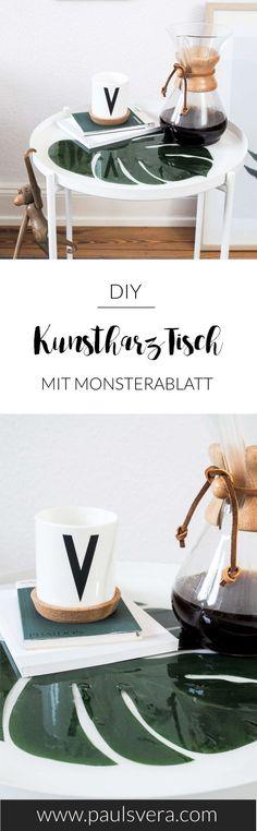 DIY Deko Idee mit Gießharz: Tablett und Tisch mit Pflanzen und transparentem Gießharz einfach selber machen.