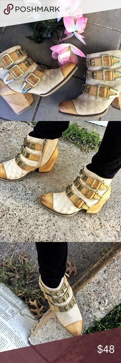 Boho inspired booties 🌵🌻 Cute Boho ish / Coachella inspired booties! They have a good weight to them, so you can definitely tell they have a great quality! They have a distressed look to them, especially on the front toe area and heels. They also have brass like textures and gold thick buckles Shoes Ankle Boots & Booties