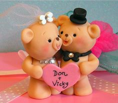 Sweet Teddy Bear Wedding Cake Topper / Bride and Groom / Anniversary /  Bride and Groom Gift. $68.00, via Etsy.
