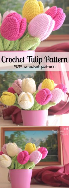 Crochet Tulip pattern. Instant download PDF crochet pattern to make these beautiful flowers. Perfect gift for valentines or Mother's Day. #etsy #ad