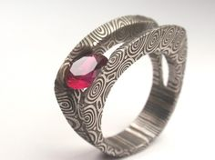 Damascus Ring / Tension Set Ring / Ruby stone by jewelrybyjohan, $799.00