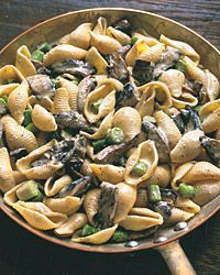 Pasta Shells with Portobello Mushrooms, Asparagus, and Boursin Sauce - Food & Wine.  [I made this tonight with spaghetti, turkey broth, and some cream cheese and provolone I had in the fridge. Absolutely delicious.]