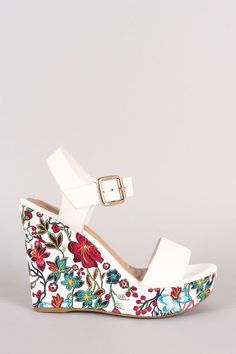 cd6026557021 Shop Bamboo Vegan Leather Open Toe Floral Platform Wedge featuring a single  band