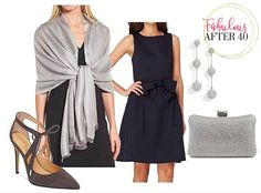 SIlver Wrap Shawl and Navy Dress