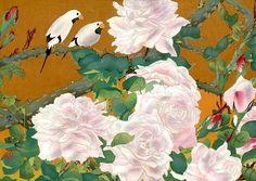 土屋 楽山 Tsuchiya Rakuzan -  Roses and long-tailed finches Rakuzan Tsuchiya, Japan Prints, Гравюра