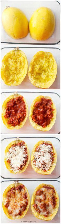 Spaghetti Squash Boat Recipe!  A healthy and delicious dinner idea!