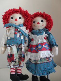 "Handmade 30"" Pair of Rag Dolls - check out this Etsy seller for many rag dolls...."
